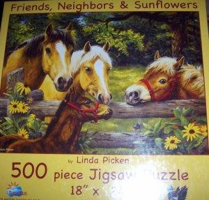 Friends Neighbors & Sunflowers Horses Jigsaw Puzzle