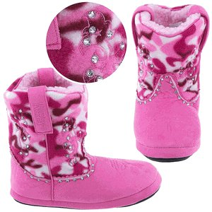 Montana Silversmiths Cowboy Kickers Pink Camouflage Slippers SZ L/XL