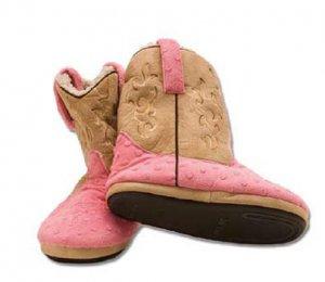 Montana Silversmiths Cowboy Kickers Pink Tan Top Youth Size S/M
