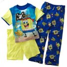 NEW NWT SPONGEBOB SQUAREPANTS 3-PC. PAJAMAS SET SIZE 6