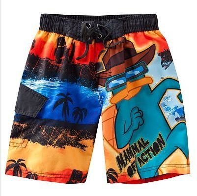 NEW NWT PHINEAS & FERB PERRY THE PLATYPUS BOYS SWIM TRUNKS SIZE 5