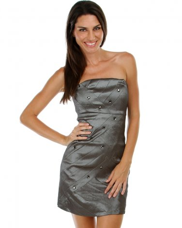 BRAND NEW Silver Metallic Dress w/Rhinestones (M) D1101