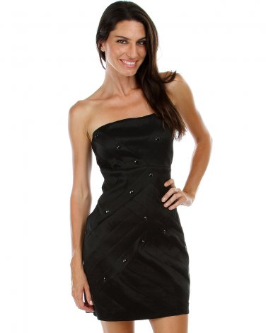 BRAND NEW Black Metallic Dress w/Rhinestones (M) D1101