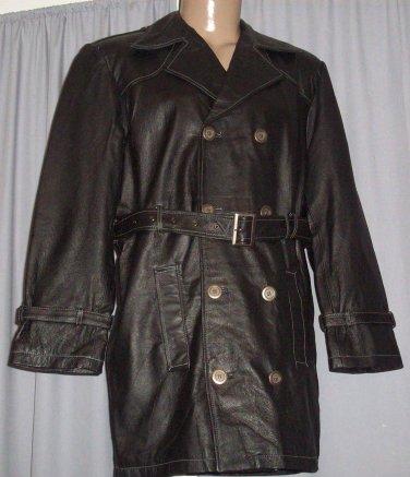 BRAND NEW Black James Leather Trenchcoat (M) F700