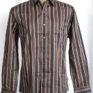 BRAND NEW Tasso Elba Brown Striped L/S Shirt (L) #0829