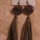 BRAND NEW Handmade Olive Green Leather Praga Earrings #0567