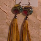 BRAND NEW Handmade Mustard Yellow Leather Praga Earrings #0568