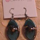 BRAND NEW Handmade Aqua Glass Zulu Earrings#0569