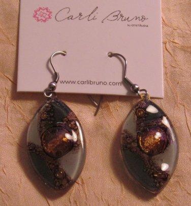 BRAND NEW Handmade Gray Glass Zulu Earrings #0570