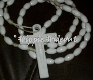 Soft White Rosary with White Cross
