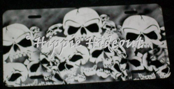 Airbrushed License Plate Car Tag Skulls
