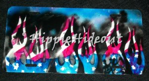 Airbrushed License Plate Flames Old Glory