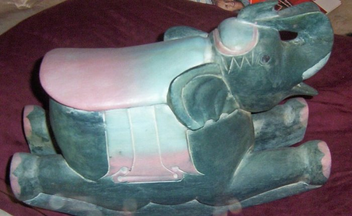 HAND CARVED HAND PAINTED ELEPHANT WOODEN