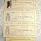 5 Vintage Dairy Receipts Lindquist Cleverly Williams Dairies 1901-1928 Easton MA