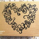Large Victorian Filigree Heart By Sir Stamp-A-Lot Large Mounted Rubber Stamp New