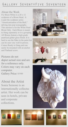 Modern Abstract Wall Sculpture Bull Bison Head GLY7