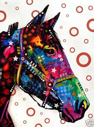 Horse Pop Art  Mixed Media Modern Art Abstract GLY7