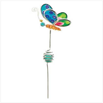 BUTTERFLY FUSED GLASS GARDEN STAKE - 38046