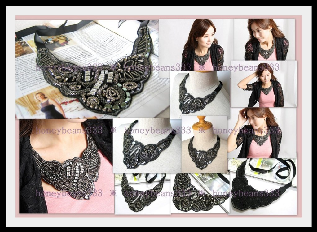 Gorgeous Handcrafted Black Ribbon Bib Necklace 663.008