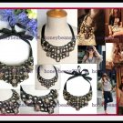 Pretty Black Toffee Rhinestone Ribbon Bib Necklace 81