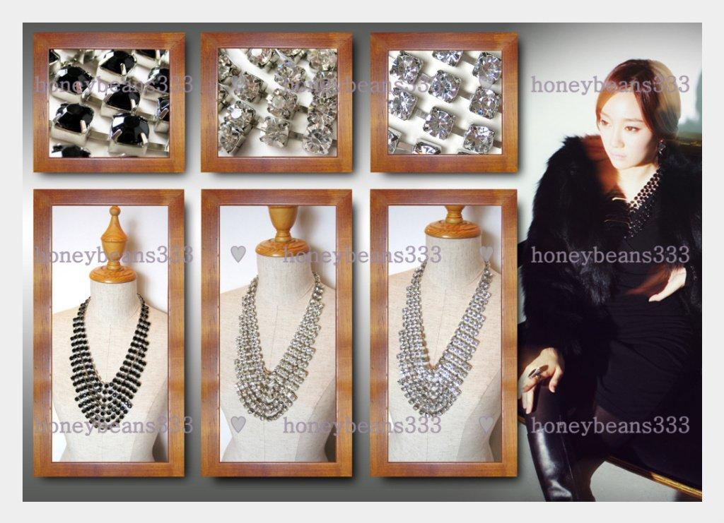 NEW Statement Bib Necklace BLACK CLEAR BLING Crystal V6