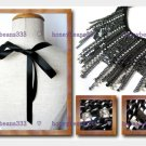 Black Rhinestones Ribbon Tassel Fringe Bib Necklace 056