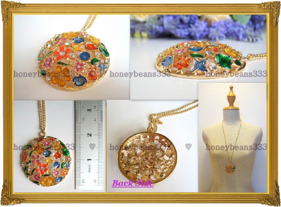 NEW Rhinestone Colorful Enamel Flower Gold Necklace 039