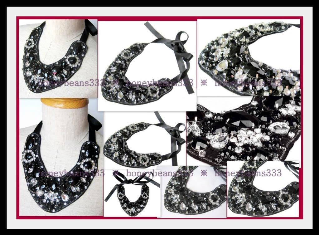 Gorgeous Faux Onyx Rhinestone Handmade Bib Necklace 025