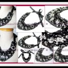 Gorgeous Faux Onyx Rhinestone Handmade Bib Necklace 025