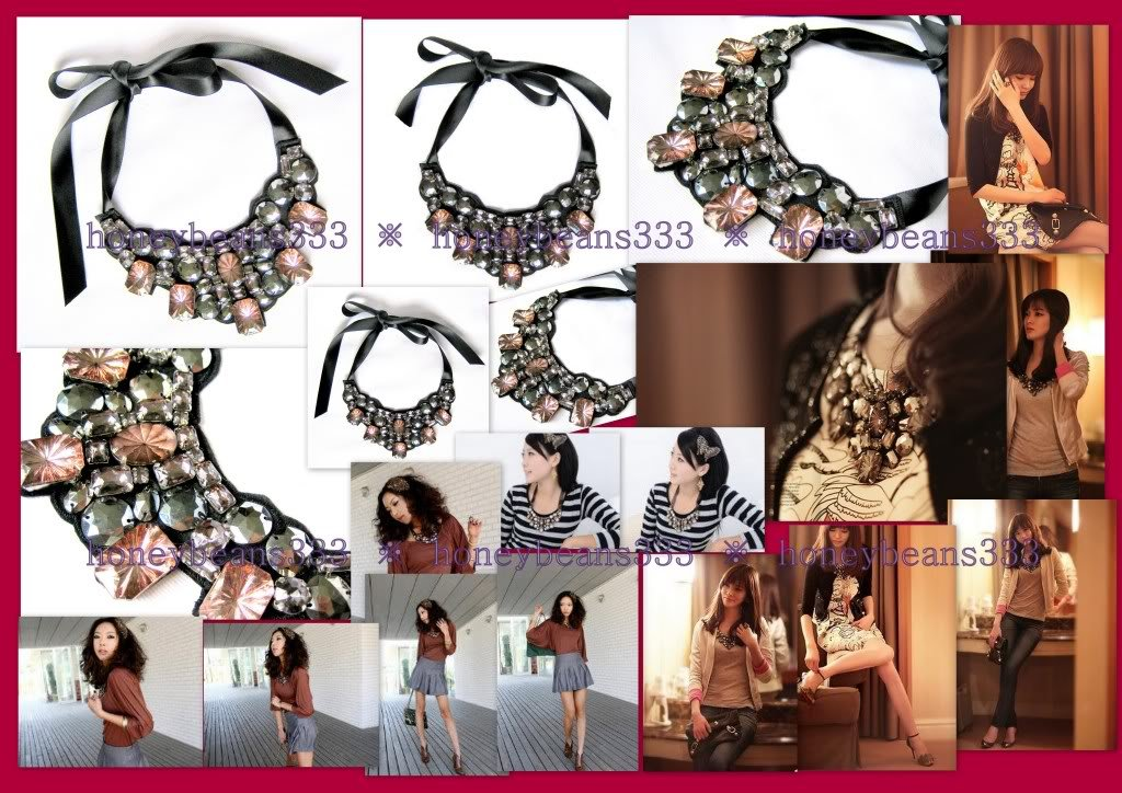 New Handcrafted Pink Crystal Rhinestone Bib Necklace 58
