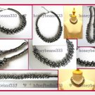 New Black Grey Gunmetal Pearl Bead Choker Necklace 014