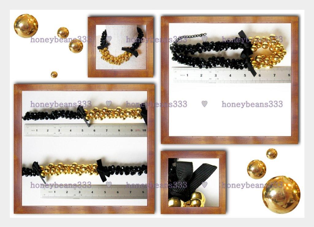 Cluster Gold Bead Black Cocktail Bib Choker Necklace V7