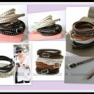 2PC Set Black White Brown Rivet Cuff Bangle Bracelet 02