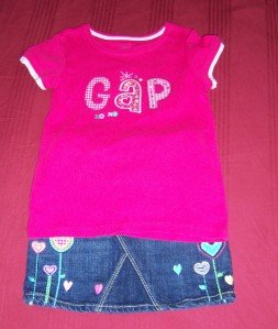 BABY GAP Denim JEAN Skirt Shirt Set 4T 5T Summer FALL