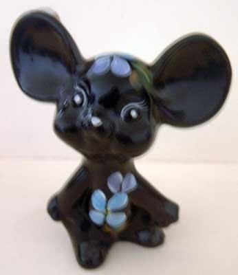 Fenton Mouse Black Handpainted Mint Floral Collectible