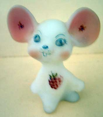 Fenton Mouse White Handpainted Mint Floral Collectible