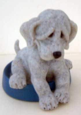 Dog in Food Bowl : 'Patience' : Quarry Critters : Vintage : Mint