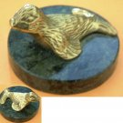 Brass & Green Marble Seal Gatco Collectible Vintage Figurine
