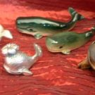 WHALES Ceramic Porcelain Pewter Miniatures Lot of 5 Minis