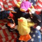 Plush Lot Beanie Beenie Babies Minis Lizard Duck Cat Chicken
