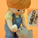 Red Hair Girl Feeding Sheep Lamb Animal Enesco Country Cousins