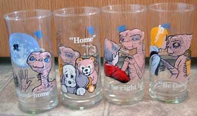 ET Pizza Hut Drink Glasses Lot Set/4 Limited Edition