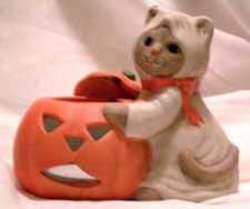 Ceramic Tea Lite Holder Ghost Cat Halloween