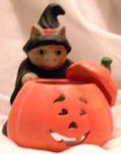 Ceramic Tea Lite Holder Witch Cat Halloween