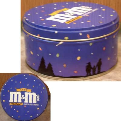 M & M Peanut Candy Holiday Silhouette Collector Tin 1989