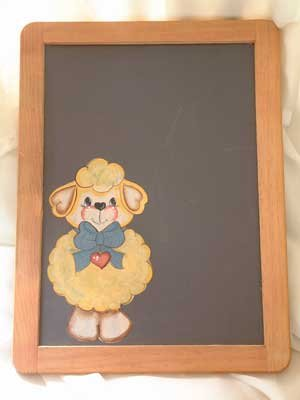 Chalkboard Lamb Wood Hand Painted OOAK