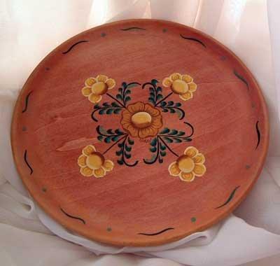 Flower Flowered Plate Wood Hand Painted Rosemale OOAK