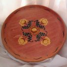 Flower Flowered Plate Wood Hand Painted Rosemale OOAK