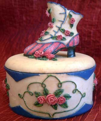 Victorian Lace Shoe & Rose Flowers Trinket Box