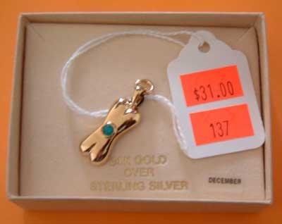 Bonestones Dog Birthstone Charm NEW 24k Gold over Sterling Silver SS December